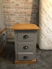 PINE FURNITURE EDWARDIAN RANGE 3 DRAWER BEDSIDE GREY/WAXED WITH RUSTIC CUPS