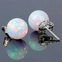 925 Silver Round Fire Opal Ear Stud Earrings Women Wedding Birthstone Jewelry,