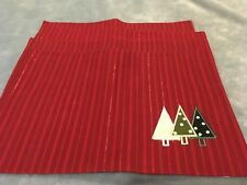 CHRISTMAS PLACEMATS 4 PC SET 19 INCH X 13 INCH EMBROIDERED CHRISTMAS TREE