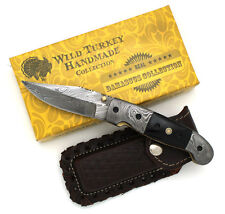 "Wild Turkey Handmade Damascus Collection Buffalo Horn Folding Knife 8"" Overall"