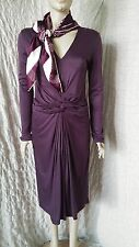 Hugo Boss purplle 100% viscose formal dress with gathered waist and pleats sz M
