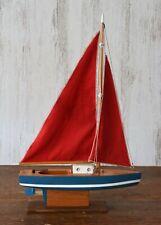 "Vtg 12"" Model Sailboat w/ Stand - Folk Art Boat Yacht Ship Cloth Sail"