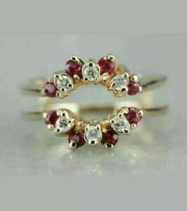 1.00Ct Red Ruby Diamond Enhancer Wrap Engagement Ring 14K Yellow Gold Finish