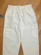 Nwt White Cargo Scrub Pants With Drawstrings And Pockets Size Medium