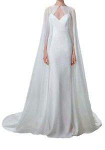 Wedding Bridal Cape White Ivory Cathedral Length Lace Applique Wraps Jackets