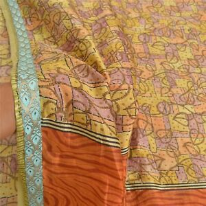 Sanskriti Vintage Indian Sarees 100% Pure Silk Printed Sari Soft Craft Fabric