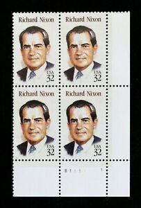 US Plate Blocks Stamps #2955 ~ 1995 RICHARD NIXON 32c Plate Block of 4  MNH