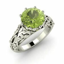 Vintage Solitaire Engagement Ring 1.76 Cts Peridot 14k Solid White Gold Jewelry
