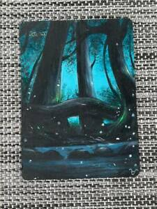Forest Basic Land MTG Magic New Hand Painted Altered Extended Winter Art <((((-<