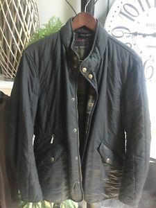 "BARBOUR men's ""Classic Tartan"" jacket coat waxed cotton w/tartan plaid lining L"