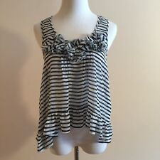 Living Doll S Tank Top Semi Sheer Striped Ruffle Hi Low See Through Womens Small