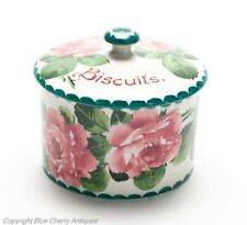 Antique Wemyss Ware Cabbage Rose Pottery Biscuit Jar with T Goode Mark