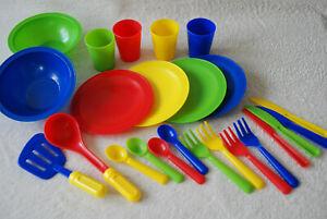 Bundle of 24 Plastic Kids Bowls Plates Cutlery Garden Play Dinnerware Set