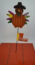 "New listing Fall Holiday Turkey Garden Flower Pot Metal & Tin Stake Pick 12"" H #80"