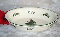 "Spode Christmas Tree Porcelain Large Deep Oval Serving Bowl Dish Casserole 12.5"""