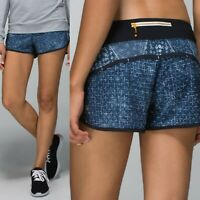 RARE Lululemon Size 4 Women's Speed Run Workout Short in Sashiko Ghost Blue