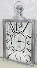 Vintage Home Rectangular Wall Clock Fob Watch White Grey Wash Distressed Wood