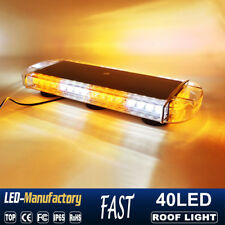"22"" 40 LED Strobe Lights Emergency Beacon Warning Tow Truck Roof Top Amber White"