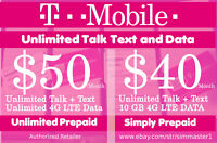 T-Mobile 4G 1st & 2nd Month Preloaded $50 Unlimited & $40 10GB SIM Cards