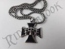 Solid Iron Cross Pendant necklace Stainless Steel Skull Punk Nazi German WW2