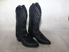 Abilene Cowboy Western Black Boots Snakeskin Snake Used Men's 7 D USA Leather