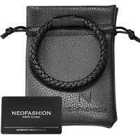 Sekora Mens Premium Nappa Leather Braided Bracelet Black PVD Wristband Steel