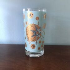 Fred Press Celestial Turquoise Midcentury Collins Highball Bar Barware Glass