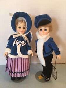 Effanbee Currier & Ives Collection Skaters Boy and Girl Dolls In Vintage Clothes