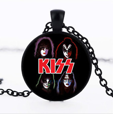 Bands That KISS Photo Glass Dome black Chain Pendant Necklace,Wholesale
