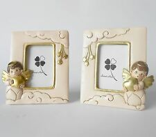 Bomboniera Quadretto porta foto resina angelo cuore 100xh120mm set 2pz art 04759
