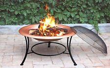 "30""/76cm Diameter Sturdy Copper Fire Pit + Guard & Poker, For Charcoal & Logs"