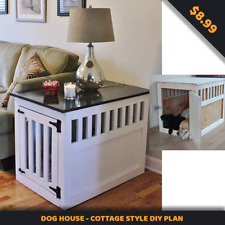 Indoor Dog House-Large Wood Pet Kennel End Table DIY Plan+GIFT- INSTANT DELIVERY