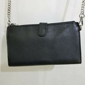 Saks Fifth Avenue Black Leather Wallet on a Chain Double Zip