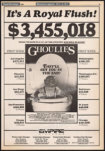 GHOULIES__Original 1985 box office Trade AD promo / poster__CHARLES BAND__EMPIRE