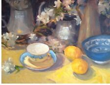 Spring Lemons with Silver oil painting still life by Margaret Aycock original