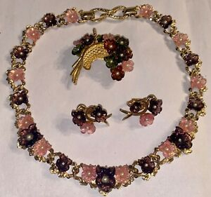 RARE Boucher 8229N Choker Necklace Brooch Clip On Earring Numbered Set