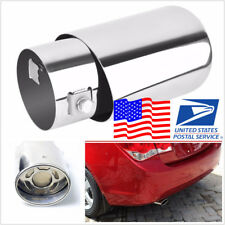 USA Stock Vehicle Round Exhaust Pipe Tip Tail Muffler Cover 304 Stainless Steel
