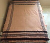 VTG Fleecydown Wool Pink Black Stripes Cabin Lodge Blanket Montgomery Ward 78x65