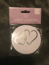 pack of 24 White with Double Silver Hearts Paper Drink Coasters