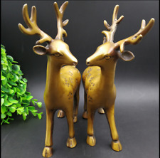Old  China  brass  A pair of Sika Deer  Furniture decoration  Statues