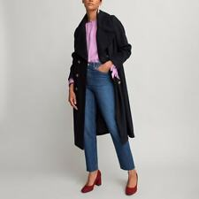 La Redoute Long Navy Double Breasted Coat Size 16 Tailored Wool RRP £99