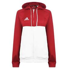 adidas Jacket Ladies Track Coat Top Full Length Sleeve Hooded Zip Stripe Stamp