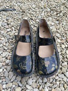 Alegria PG Lite Black Flower Patent Shoes size 41