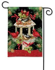 Studio M H8 BreezeArt Outdoor Garden Flag 12.5x18in Birds - Christmas Dinner