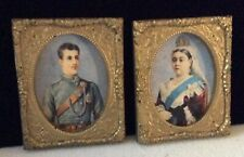 vintage dollhouse miniature framed art work portraits of queen victoira & prince