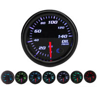 "52mm 2"" 7 Colors Universal Oil Press Gauge Oil Pressure Meter LED PSI W/Sensor"