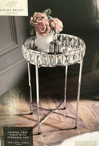 Luxury Crystal Tray  side Table  Mirrored Top Silver Coffee Table Removable top