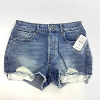 Warp+Weft Distressed NEW IBZ High Rise Shorts Mid Wash Blue Size 27 New 7065