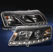 05-08 AUDI A6 LED PROJECTOR HEADLIGHTS BLACK R8 STYLE DRL STRIP DAYTIME RUNNING