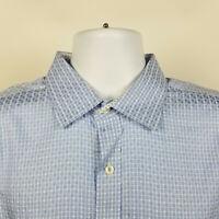 Bugatchi Uomo Shaped Fit Blue Check Mens Dress Button Shirt Size XL